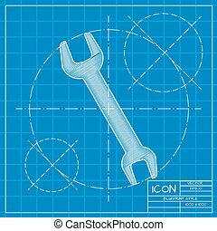 adjustable wrench - Vector blueprint adjustable wrench icon...