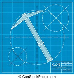 Vetor color flat pick icon - Vetor blueprint pick icon on...