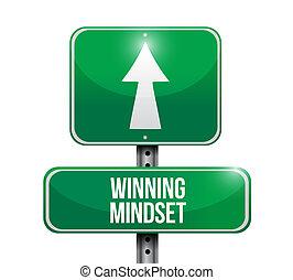 winning mindset road sign concept illustration design...