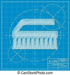 Cleaning brush - Vector blueprint cleaning brush icon on...
