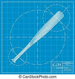 Sport illustration - Vector blueprint baseball bat icon on...