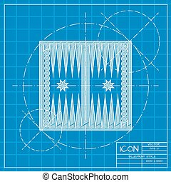 Sport illustration - Vector blueprint backgammon table with...