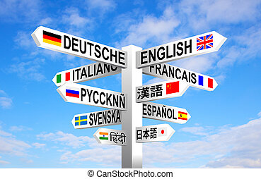 Languages Signpost - Multilingual languages and flags sign...