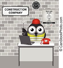 Construction Company - Comical bird construction worker...