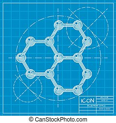 Graphene icon - Vector blueprint graphene icon on engineer...