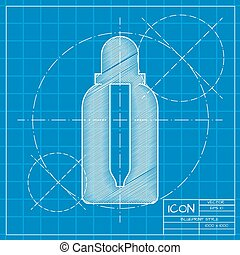 Vector flat bottle - Vector blueprint dropper bottle on...