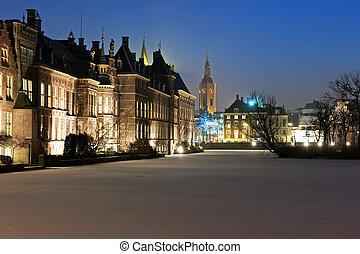 """Binnenhof at night - The Historic \""""Ridderzaal\"""" at Het..."""