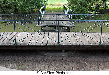 Swing bridge in park Schoenbusch near Aschaffenburg