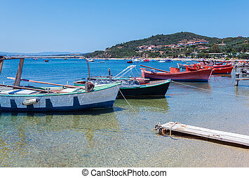 Boats near Ouranopolis, Mount Athos - Boats near...