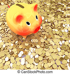 pig 3d - Pink piggy bank standing on a many of golden coins