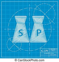 salt and pepper icon - Vector blueprint salt and pepper icon...