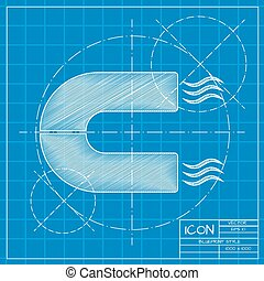 magnet icon - Vector blueprint magnet icon on engineer or...