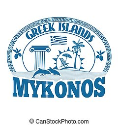 Mykonos stamp - Greek Islands, Mykonos, stamp or label on...