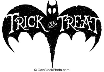 Bat Trick or Treat - Trick or Treat Ghost Vector of a...