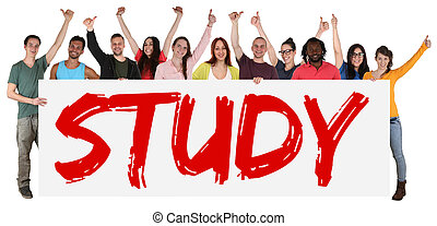 Study sign group of young students multi ethnic people holding banner