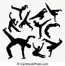 Capoeira sport dance silhouettes Good use for symbol, web...