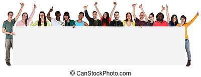 Large group of young multi ethnic people holding empty...