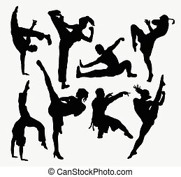Kungfu martial arts silhouettes Male and female Good use for...