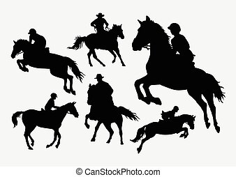 People riding horse silhouettes