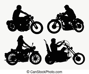 Riding motorcycle silhouettes - Male and female riding...