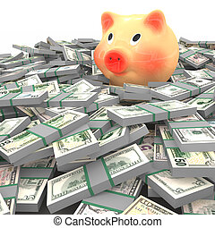many dollars - Pink piggy bank standing on a many dollars