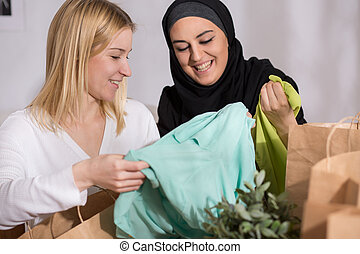 Female after shopping with muslim - Picture of happy female...