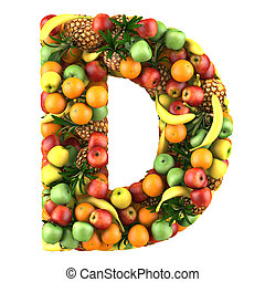 Letter of fruits - Letter - D made of fruits. Isolated on a...