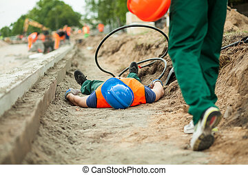 Accident on a road construction - Image of an accident on a...