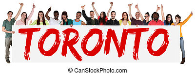 Toronto group of young multi ethnic people holding banner...