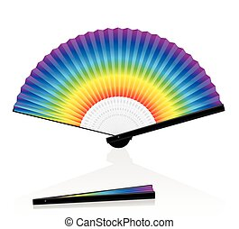 Hand Fan Colorful Rainbow Gradient - Hand fan - rainbow...