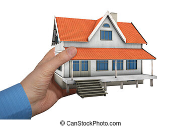 3d Home - Man holding model house in a hand Isolated on...