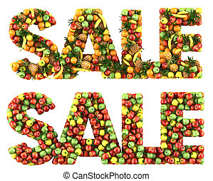 The word Sale made of fruits. Isolated on a white.