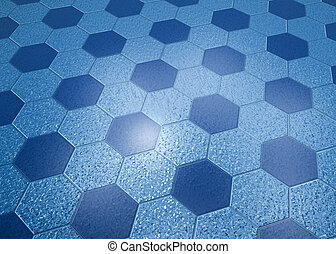 Blue Marble Floor Hexagonal Tiles