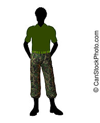 African American Soldier Illustration Silhouette - Male...