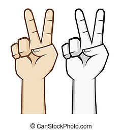 Peace Hand Sign - Peace hand sign and symbol, vector...