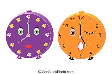 Smileys alarms - Vector illustration of two isolated cute...