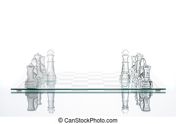 business Competition strategy, transparent glass Chess...