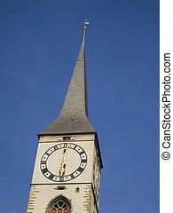 StMartin Church in Chur, Switzerland - Clock tower of...