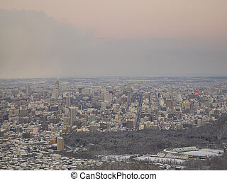 Sapporo city in winter - Sapporo city in evening, view from...