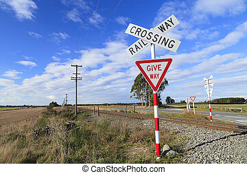 Railway crossing and give way sign - Railway crossing and...