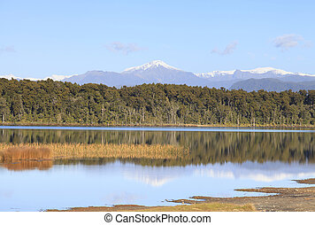 Lake Mahinapua, West Coast, NZ. - Lake Mahinapua, a shallow...