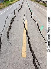 Cracked and broken asphalt Road. - Asphalt road cracked and...