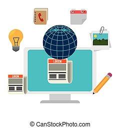 Blog and blogger social media design, vector illustration.
