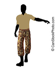 Male Soldier Illustration Silhouette - Male soldier casually...