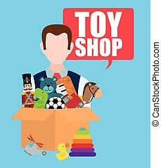Toy shop design - Toy shop concept and childhood icons...