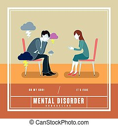 mental disorder counseling concept in flat design