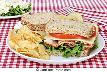 Turkey, Lettuce and Cheese Sandwich on Whole Grain Bread