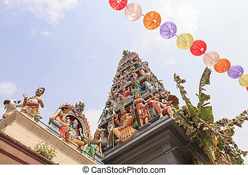 Sri Mariamman temple, Singapore - Detail of colorful Sri...