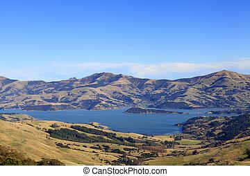 akaroa, új,  Zealand, kikötő