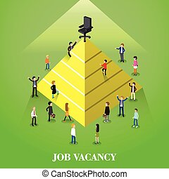 job vacancy - flat 3d isometric design of job vacancy